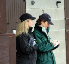 Cathy Grassick and Eimear Mulhern inspecting at Goffs February 2012